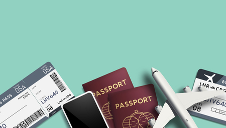 Travel background with passports, airline tickets and toy plane. Vector illustration.