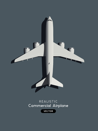 Realistic model of a large passenger commercial airplane. Vector illustration.