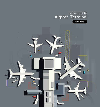 Top down aerial view of a busy airport terminal with parked commercial airplanes. Vector illustration. Vektorové ilustrace