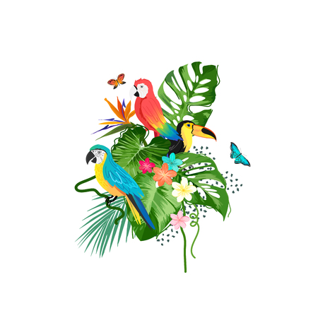 A collection of exotic birds and tropical plants. Vector illustration. Banco de Imagens - 129905776