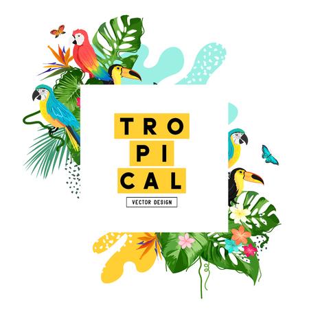 Exotic jungle tropical summer background frame layout. Vector illustration Ilustração