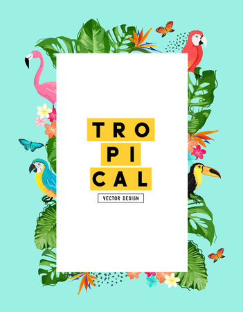 A tropical summer frame background layout with birds and plant life. Vector illustration
