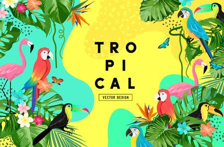 Exotic jungle summer background frame layout with plam leaves and tropical birds. Vector illustration Ilustração