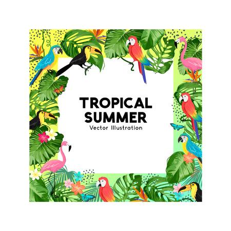 A tropical summer jungle background border design. Vector illustration. Ilustração