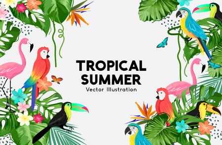 An exotic jungle summer background frame design with birds and palm leaves. Vector illustration. Ilustração