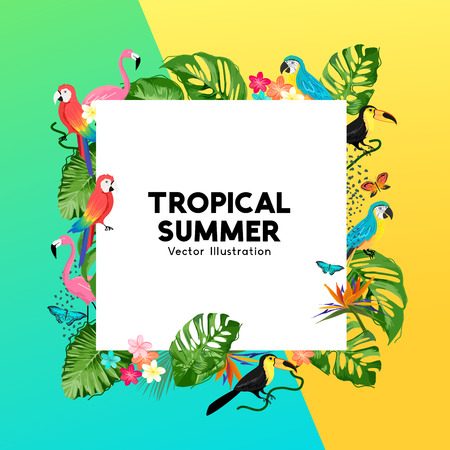 Summer tropical border design with palm leaves, jungle birds and flowers. Vector illustration