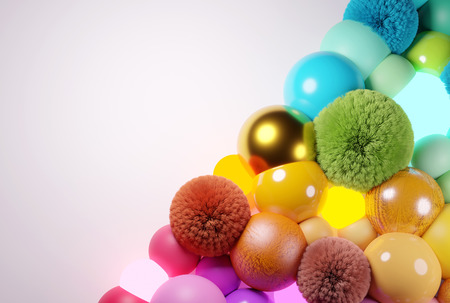 Abstract background with various colorful balls and spheres. 3D illustration 写真素材