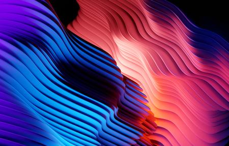 Abstract gradient warped shapes background design. 3D illustration