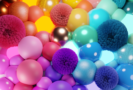 Colourful bubbles, spheres, and balls abstract background. 3D illustration.