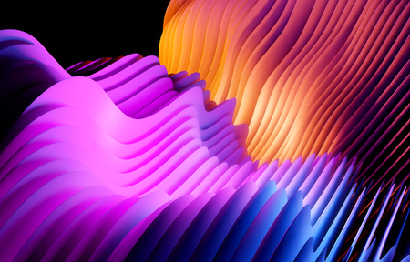 Wavy abstract shapes and form background. 3D illustration.