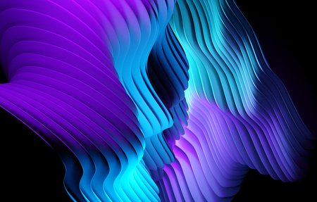 Abstract gradient shapes pattern background design. 3D illustration