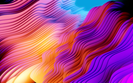 Colorful layered abstract shapes composition. Futuristic texture 3D illustration.