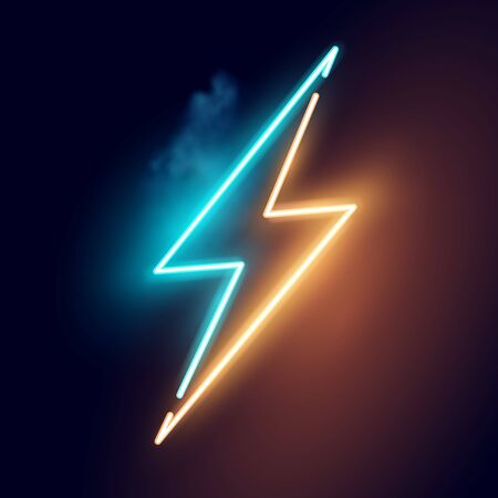 A glowing neon Electric Lightning bolt Sign. Vector illustration. Ilustrace