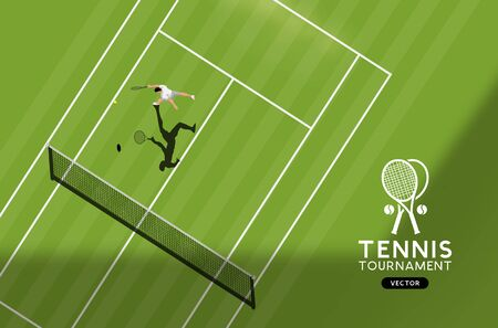 Grass Court Tennis Championship. Top down view of the sport, vector illustration.