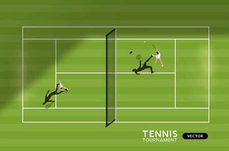 Mens match of tennis on a grass court. Top down view of the sport, vector illustration. Иллюстрация