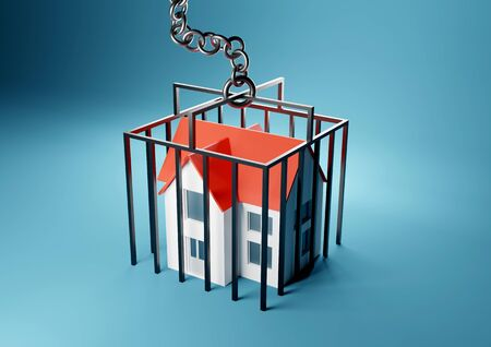 A house trapped in a caged prison. Mortgage, home owner trapped concept. 3D render illustration.