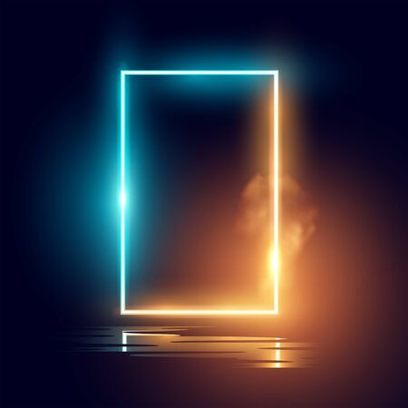 A glowing mood neon lighting frame vector effect. Reklamní fotografie