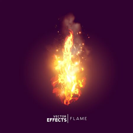 A realistic fire flame with smoke and sparks. Vector illustration.
