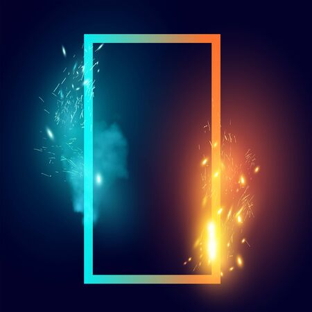 Fire and Ice sparks and smoke abstract shape effect. Vector illustration