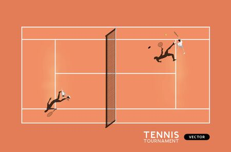 Mens match of tennis on a clay court. Top down view of the sport, vector illustration.