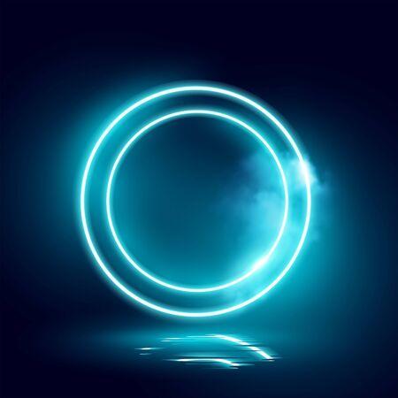Glowing futuristic blue neon loops. Vector lighting effect.