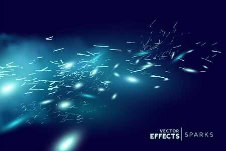 Magical fantasy blue fire sparks blowing through the wind. Vector illustration. 일러스트
