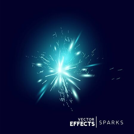 Blue Sparks and Explosion Effect. Vector illustration.