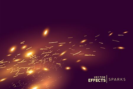 Bright glowing fire sparks blowing in the wind. Vector illustration.