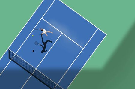 Tennis match on a hard court. Top down view of the sport, vector illustration. Иллюстрация