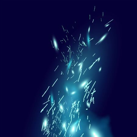Magical blue fire sparks blowing through the wind. Vector illustration.