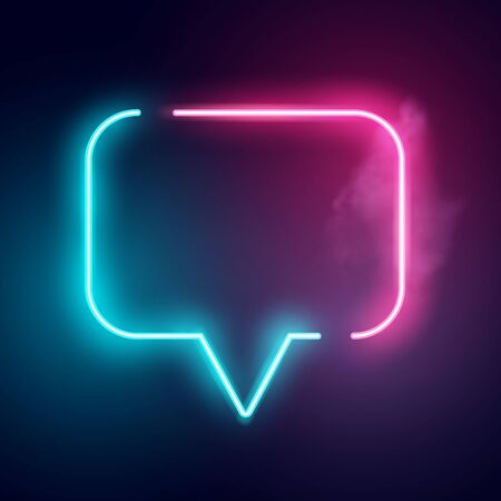 A glowing neon speech bubble sign. Vector illustration