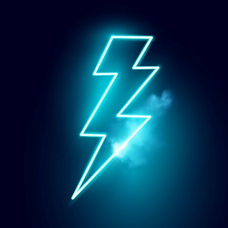 A blue neon electric lightning bolt vector sign.