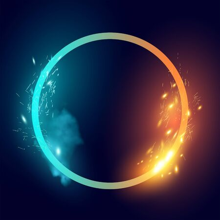 Fire and Ice effects on a loop shape. Vector illustration.