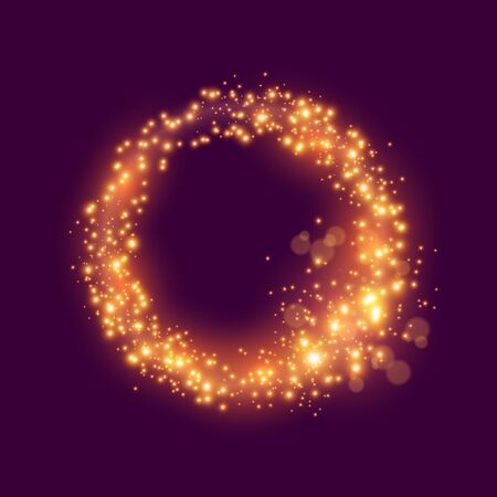 A loop of glowing sparkling particles. Vector illustration.