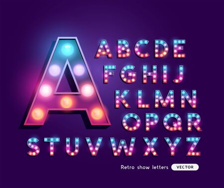 Colourful lightbulb retro theatre and sign letter alphabet. Vector illustration. 일러스트