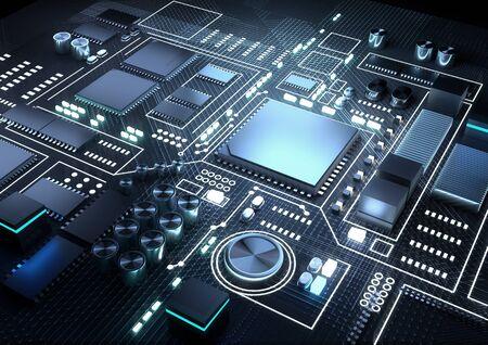 Intelligence artificielle et apprentissage machine arrière-plan CPU et processeurs. Illustration de rendu 3D. Banque d'images