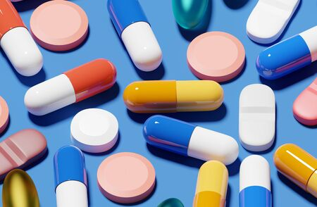 Various pills and medicine on a blue background. Close up 3D render illustration.