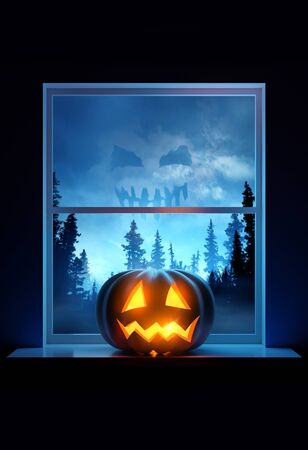 A home window sill with a glowing Jack O Lantern pumpkin on display on halloween eve. 3D illustration.