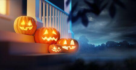 A group of pumpkin Jack O Lanterns decorating a porch on Halloween. 3D illustration. Stockfoto