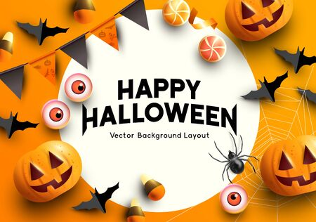 A set of halloween themed party decorations. Top down view with room for copy. Vector illustration