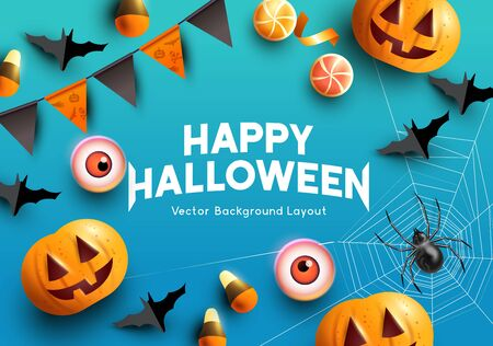 Halloween celebrations with pumpkins, bats and spooky decorations. Vector illustration.