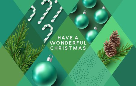 Merry Christmas background pattern in greens with festive decorations in shapes and patterns. Vector illustration.