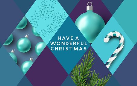 Merry Christmas background with festive decorations in shapes and patterns. Vector illustration.