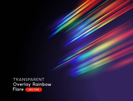 Un effetto riflesso arcobaleno della lente ottica. Illustrazione vettoriale.
