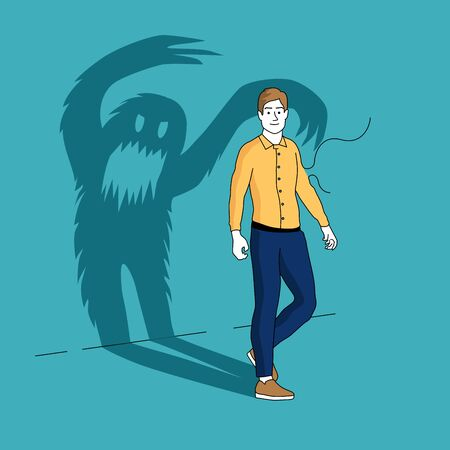 The Inner Demons. A smiling man casts a long shadow in the shape of a monster. People vector illustration