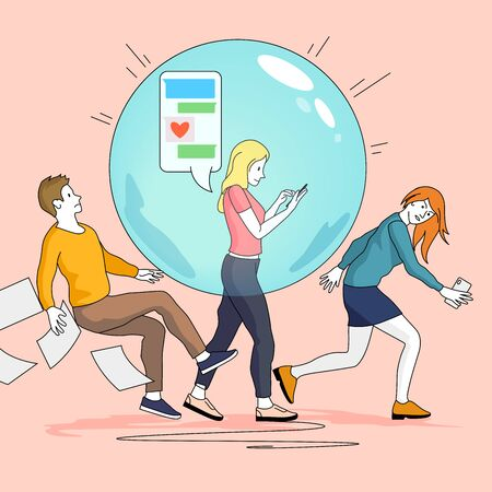 A young womens social bubble pushing and knocking other people out of the way. People concept vector illustration.