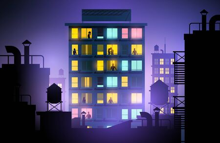 People looking out of windows in a city apartment block. Urban lifestyle at night. Vector illustration.