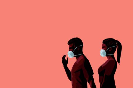 A couple walking together wearing protective face masks in a Covid-19 Coronavirus pandemic outbreak. Space for text and messages. Vector illustration