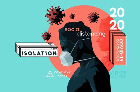 A self isolating man wearing a face mask in the Covid-19 crisis. Mental health, stress and anxiety caused by the outbreak of coronavirus. Vector illustration. Vettoriali
