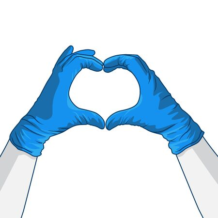 hand gesture creating a heart the symbol of love while wearing PPE protective latex blue gloves. Medical staff respect vector illustration.  イラスト・ベクター素材